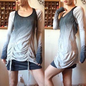 Monoreno Ombre Grey Tunic Blouse Set Tye Dye
